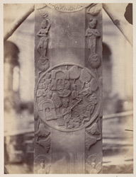 Sculpture piece excavated from the Stupa at Bharhut: pillar with jetavana scene
